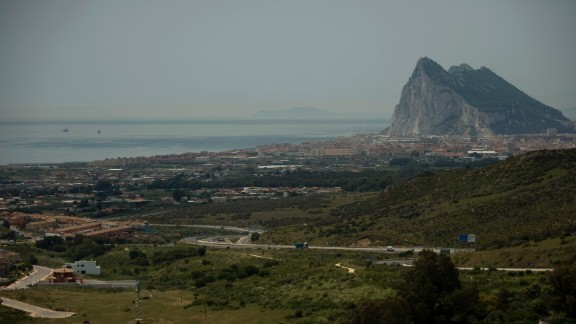 The British territory of Gibraltar lies on the tip of the Iberian peninsula.