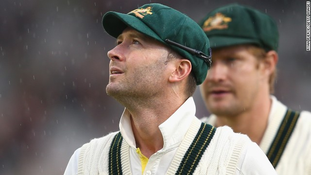 Australian captain Michael Clarke looks skyward as his side's hopes of winning the third Test at Old Trafford disappear due to bad weather.