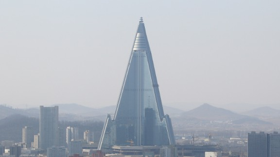 The 105-story Ryugyong hotel in Pyongyang began construction in 1987 but remains unfinished and unoccupied.