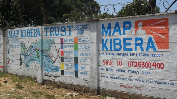 Mobile phones are helping African citizens hold their governments to account, says Loren Treisman.  Map Kibera Trust has used mapping information from mobiles to create a security map on two walls in Kibera, Nairobi. Wall painting helped provide security information during Kenya's general election, showing political and trouble hotspots in the area.