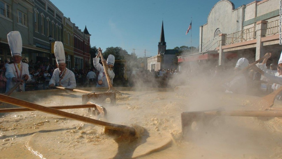 Abbeville, Louisiana celebrates its French roots with the Giant Omelette Celebration, a tradition imported from Bessieres, France. The festival supposedly originates from when Napolean stopped through the town and ordered the villagers use every egg to feed his army.