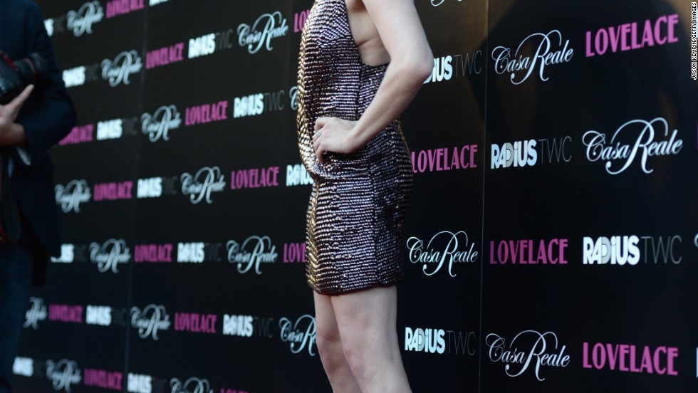 "Amanda Seyfried sparkles at the premiere of ""Lovelace"" on August 5."