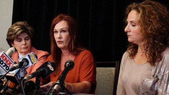 Michelle Tyler, center, has accused Filner of unwanted sexual advances. During a news conference, Tyler said that during a visit to his office in June, Filner rubbed her arm and asked for dinner dates in exchange for his helping Katherine Ragazzino, right, a brain-injured Iraq war veteran.