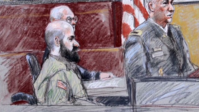 Court-martial of Nidal Hasan, who was convicted of 13 counts of murder and 32 counts of attempted murder in a shooting rampage at Fort Hood, Texas.