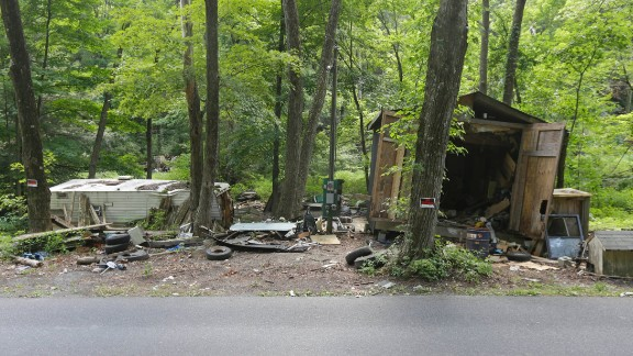 The property of shooting suspect Rockne Newell is seen on August 6 in Saylorsburg.
