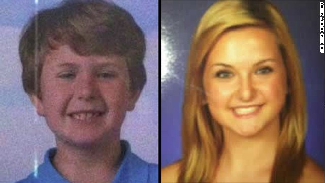 Ethan, 8, and Hannah, 16. Authorities in Southern California have issued an Amber Alert for a 16-year-old girl and her 8-year-old brother after their mother and another child was found dead inside a burned-out house Monday. The San Diego County Sheriff's Department has named James Lee DiMaggio, a friend of the mother's, as the suspect.