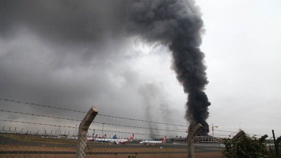 Heavy smoke rises from the airport