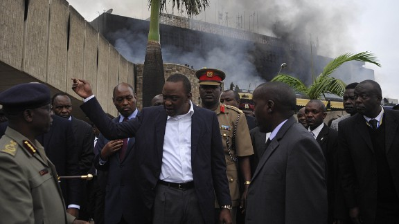 Kenyan President Uhuru Kenyatta visits the Nairobi airport on August 7 to check out the damage. The blaze could have a huge impact on Kenya