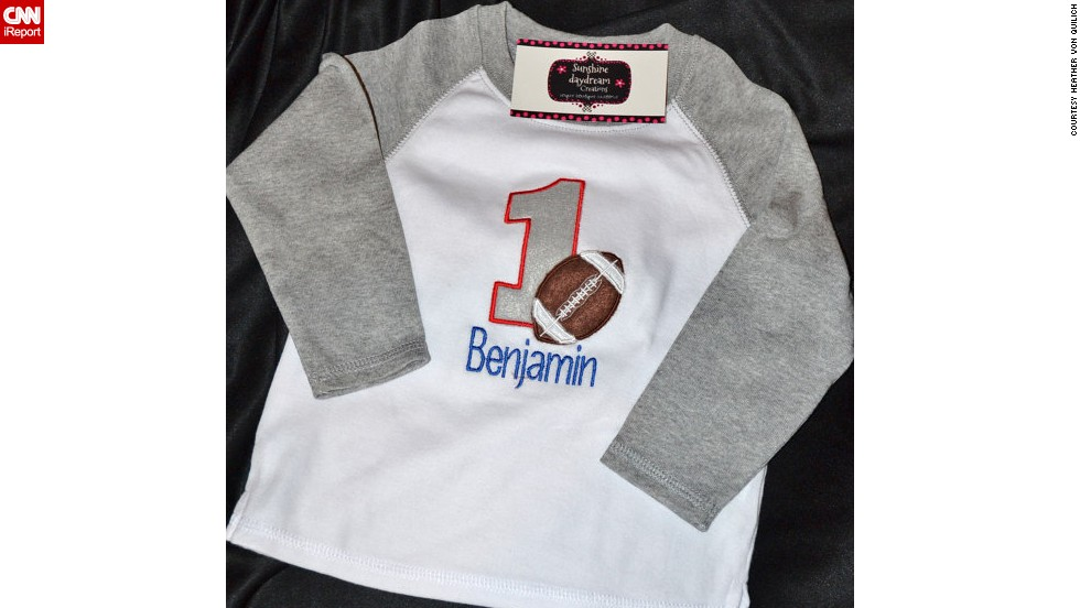 A personalized sports tee in the store.