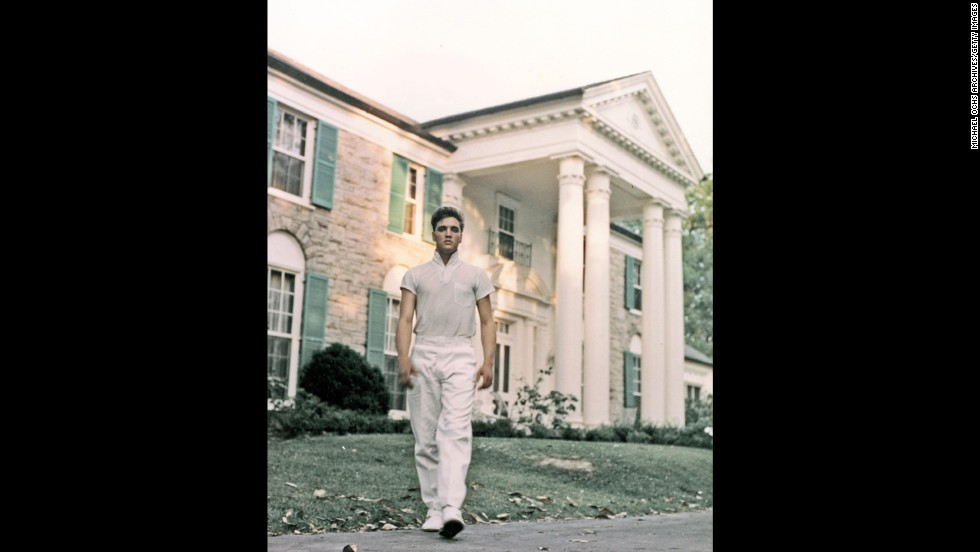 Elvis walks the grounds of Graceland in 1957.
