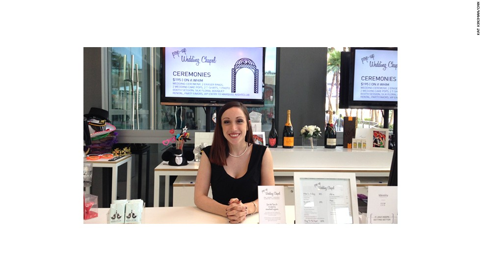Amanda Kraft, an actress, is an attendant at the Pop-Up Wedding Chapel and performs legally binding weddings and interspecies ceremonies. Non-wedding ceremonies at the Pop-Up Wedding Chapel come with amenities like eraser rings and VIP access to the red-hot Marquee nightclub.