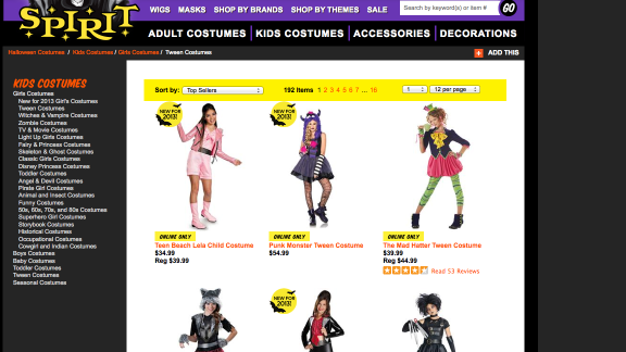 Halloween costumes are another area where parents have to beware. Some of the kids' offerings these days are more grown-up than many parents would like.