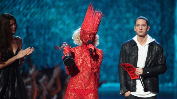Lady Gaga accepts the award for best new artist from Eminem during the 2009 MTV Video Music Awards at Radio City Music Hall.