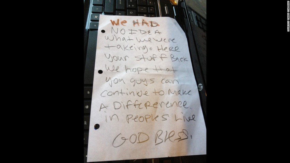 Thieves leave victim a shocking letter