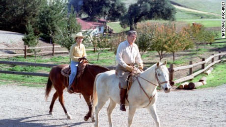 President Reagan and first lady Nancy Reagan take a horseback ride at their Rancho del Cielo vacation home in Santa Barbara, California.