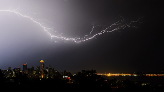 "When Seattle was pummeled with a severe electrical storm in August 2013, ""all of us photographers stood and watched in amazement,"" said Tim Durkan. He took this photo from Kerry Park in the Queen Anne neighborhood."