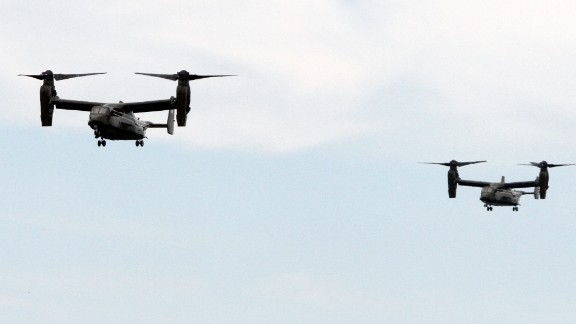 MV-22 Ospreys escort President Obama during a recent trip.