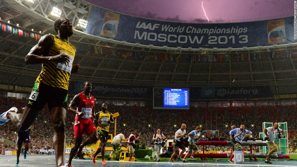 "JULY 12 - MOSCOW, RUSSIA: Lightning bolt strikes as <a href=""http://cnn.com/2013/08/11/sport/bolt-world-championships/index.html"">Usain Bolt wins the 100 meters final </a>at the World Championships on July 11. The world's fastest man reclaimed the title after being <a href=""http://cnn.com/2011/SPORT/08/28/athletics.worlds.bolt.disqualified/index.html"">disqualified from the 2011 final</a> due to a false start. Bolt now owns six world championship gold medals and six Olympics gold medals."