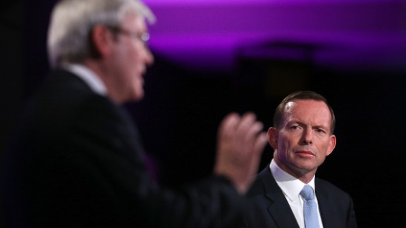 Prime Minister Kevin Rudd and Opposition Leader Tony Abbott during the Leaders Debate on August 11, 2013 in Canberra.