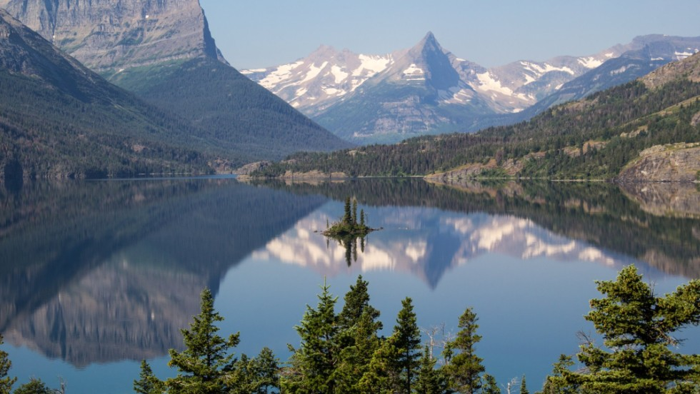 "Hottle also loves visiting Glacier National Park in Montana, a nine-hour drive by car. ""There's a wildness about Glacier that makes it even more dangerous and adventurous than Yellowstone,"" he said. Glacier's Wild Goose Island is shown here."