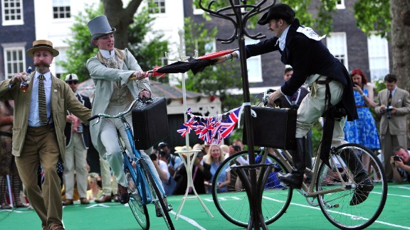 Brits parody their glory days while umbrella jousting at The Chap Olympiad, a tongue-in-cheek social sporting event set in London.