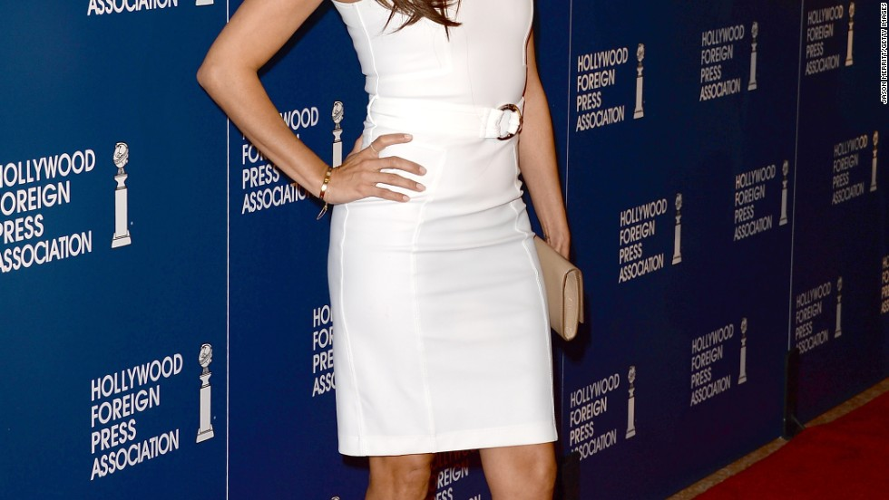 Eva Longoria keeps it chic with neutral tones at the HFPA's luncheon on August 13 in Beverly Hills.