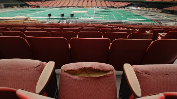 Rows of dirty, tattered seats ring the Astrodome in May 2012.