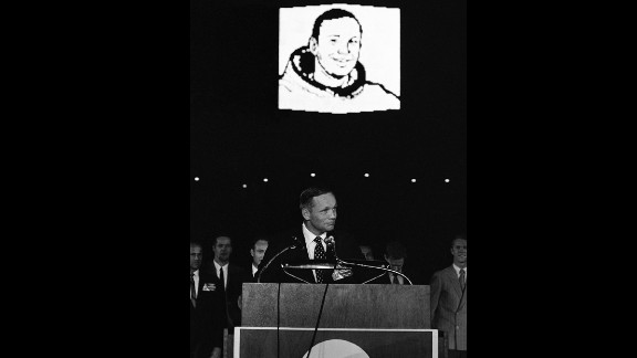 Apollo 11 astronaut Neil Armstrong addresses thousands jammed into the Astrodome on August 16, 1969. The event celebrated the successful US mission to the moon.