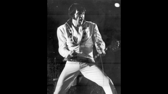 Elvis Presley thrills an Astrodome crowd during a show in February 1970.