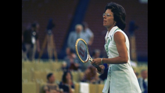 """Tennis great Billie Jean King faces off against Bobby Riggs in the """"Battle of the Sexes"""" on September 20, 1973. King crushed Riggs 6-4, 6-3, 6-3."""