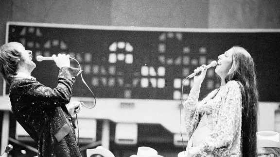 Sonny and Cher perform at the Houston Livestock Show and Rodeo in February 1974.