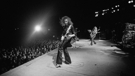 Deep Purple guitarist Ritchie Blackmore and bass player Glenn Hughes perform at the Astrodome in August 1974.