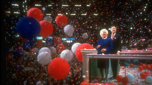 US President George H.W. Bush and first lady Barbara Bush ring in the close of the Republican National Convention in August 1992. Bush would go on to lose to Bill Clinton in the general election.