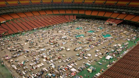The Astrodome houses thousands of Hurricane Katrina evacuees in September 2005.