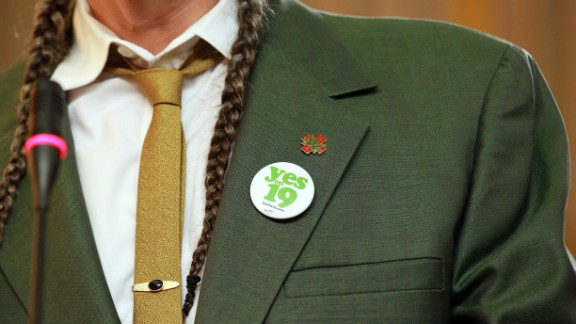 "Marijuana activist Steve DeAngelo wears a ""Yes on Prop 19"" button as he speaks during a news conference in Oakland, California, on October 12, 2010, to bring attention to the state measure to legalize marijuana for recreational purposes in California. Voters rejected the proposal."
