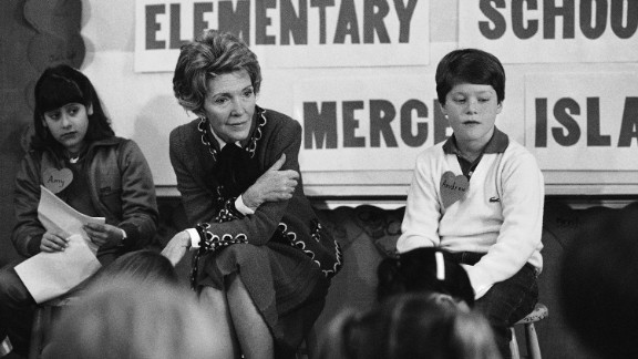 "First lady Nancy Reagan participates in a drug education class at Island Park Elementary School on Mercer Island, Washington, on February 14, 1984. She later recalled, ""A little girl raised her hand and said,"