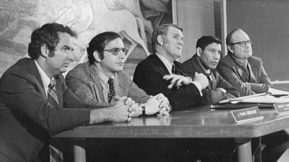 Panel members of the National Commission on Marijuana and Drug Abuse attend a hearing In Denver on January 10, 1972. From left, Dr. J. Thomas Ungerleider, psychiatrist; Michael R. Sonnenreich, commission executive director; Raymond P. Shafer, commission chairman; Mitchell Ware, Chicago attorney; Charles O. Galvin, Dallas law school dean. The commission