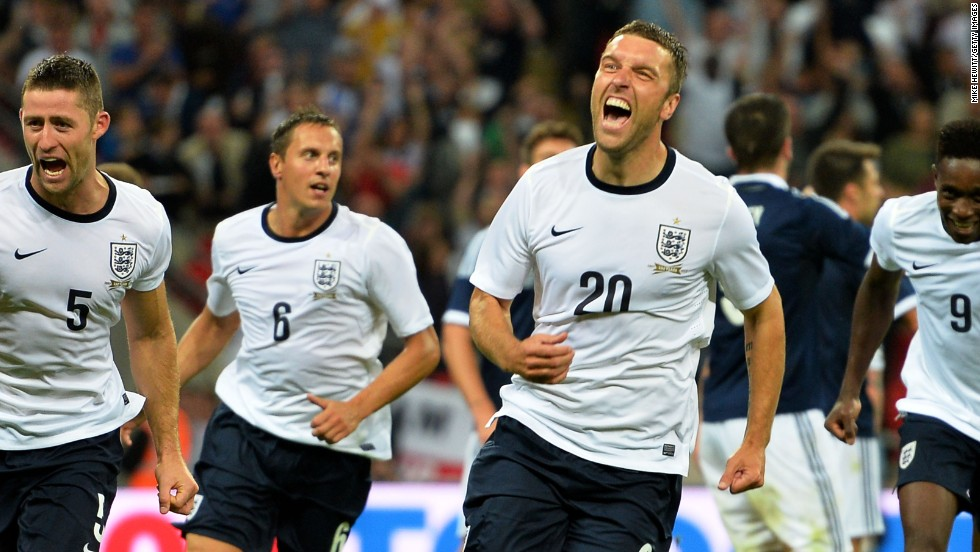 Winning feeling. Rickie Lambert scored on his debut for England in the 3-2 victory over Scotland at Wembley.