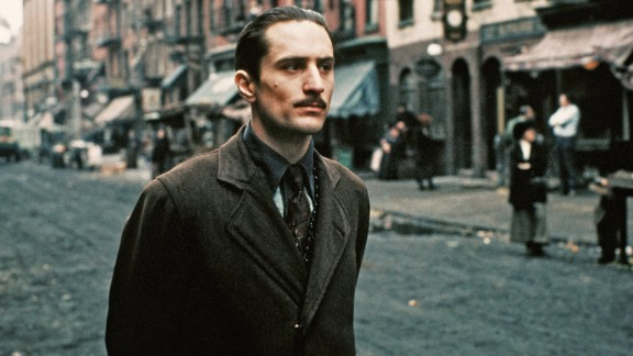 """De Niro performs a scene in """"The Godfather Part II"""" in 1974 in New York. The actor won his first Oscar, for best supporting actor, for his performance as the young Vito Corleone."""