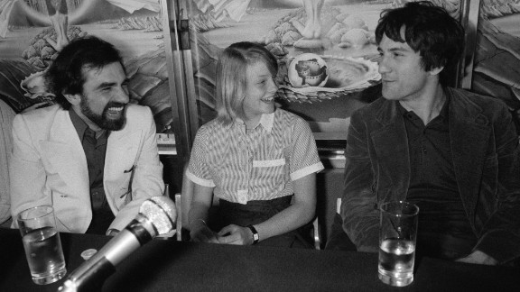 """De Niro has worked frequently with director Martin Scorsese, left. Here, Scorsese, De Niro and Jodie Foster present """"Taxi Driver"""" at Cannes in 1976. The film won the top prize, the Palme d'Or, at the festival."""