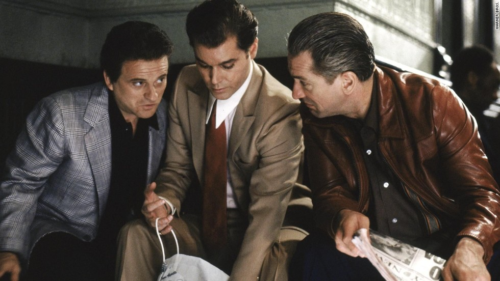 "In 1990's ""Goodfellas,"" another collaboration with Scorsese, De Niro plays Jimmy Conway, a New York gangster. The film also stars Joe Pesci, left, and Ray Liotta, center."