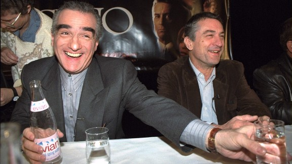 """Scorsese, left, and De Niro have a laugh at a news conference to promote the 1995 movie """"Casino."""" The film marked their eighth collaboration."""