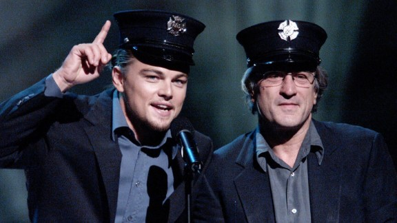 """De Niro, a born-and-bred New Yorker, appears with Leonardo DiCaprio at """"The Concert for New York City"""" after the 9/11 attacks in 2001."""