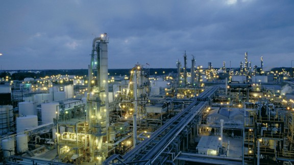 South African energy and chemicals giant Sasol plans to build the first commercial plant to turn natural gas into liquid fuels in the United States. Pictured here, the company's chemicals facility in Lake Charles, Louisiana.