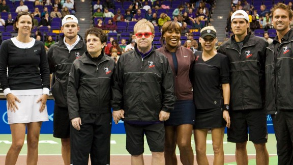 King is joined by Lindsay Davenport, Andy Roddick, Elton John, Serena Williams, Anna Kournikova, Tommy Haas and Jan-Michael Gambill at a World Team Tennis charity day.