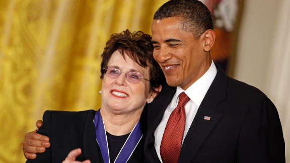 President Barack Obama awarded Bille Jean King the Presidential Medal of Freedom in the East Room of the White House in 2009.
