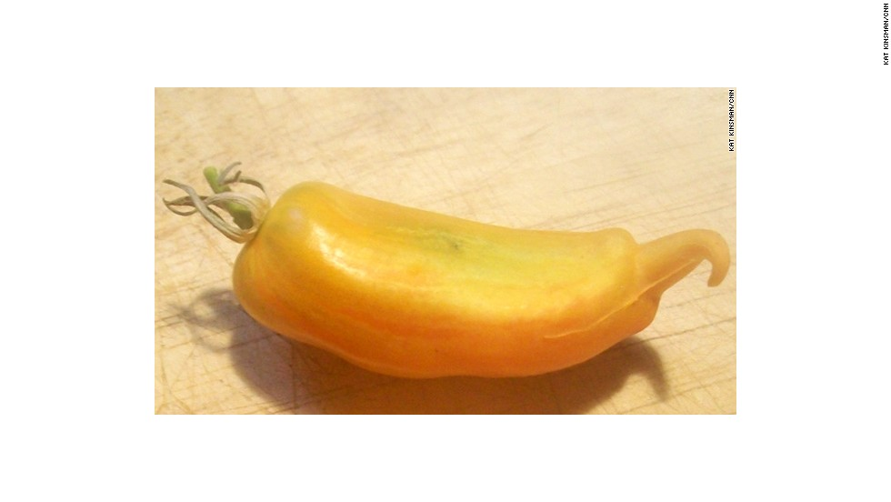 "This'd be a ""cream sausage""<a href=""http://eatocracy.cnn.com/2010/08/16/heirloom-tomatoes-explained/""> heirloom tomato</a> from our managing editor's garden. And it's happy to see you."
