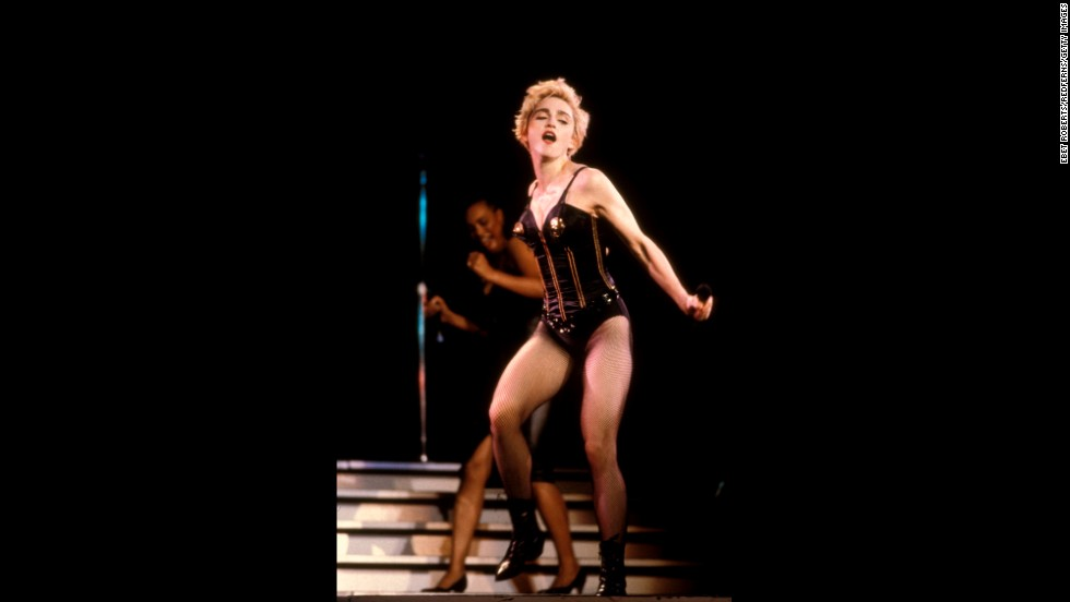 "Ever a fan of the bustier, Madonna struts her stuff during the 1987 ""Who's That Girl"" tour."