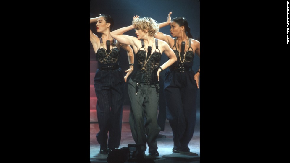 Back to the bustier: Madonna and her backup dancers perform in Los Angeles in September 1989.