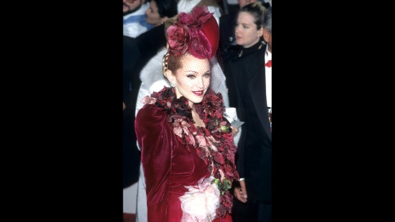 "Madonna attends the ""Evita"" premiere in Los Angeles on December 14, 1996."